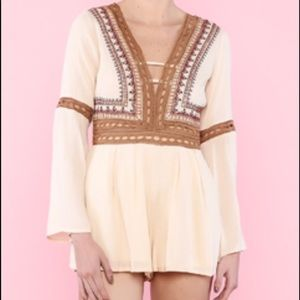 Lulumari | Shop Hopes Embroidered Beige Romper